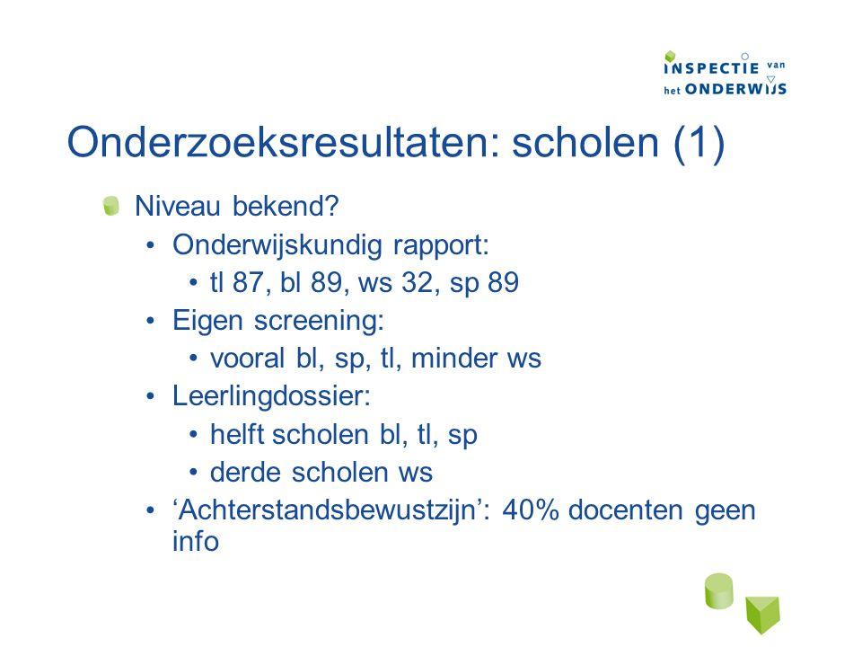 Onderzoeksresultaten: scholen (1) Niveau bekend.