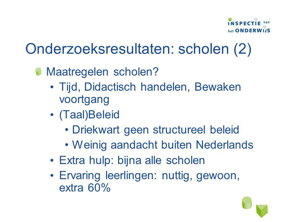 Onderzoeksresultaten: scholen (2) Maatregelen scholen.
