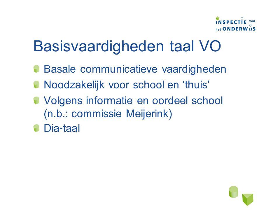 Basisvaardigheden taal VO Basale communicatieve vaardigheden Noodzakelijk voor school en 'thuis' Volgens informatie en oordeel school (n.b.: commissie Meijerink) Dia ⁃ taal