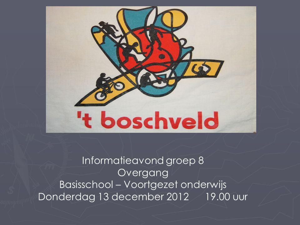 Informatieavond groep 8 Overgang Basisschool – Voortgezet onderwijs Donderdag 13 december 2012 19.00 uur