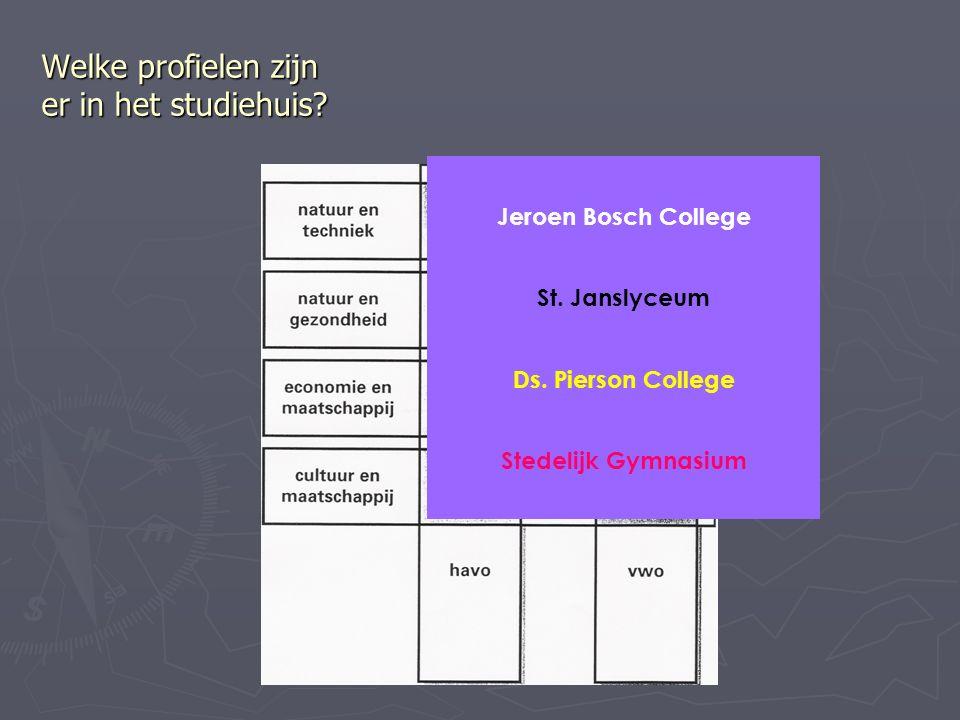 Welke profielen zijn er in het studiehuis. Jeroen Bosch College St.