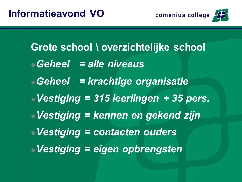 Grote school \ overzichtelijke school Geheel = alle niveaus Geheel= krachtige organisatie Vestiging = 315 leerlingen + 35 pers. Vestiging = kennen en