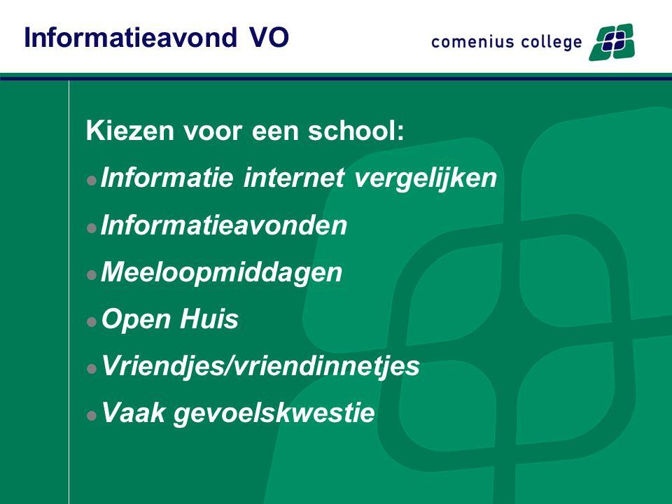 Kiezen voor een school: Informatie internet vergelijken Informatieavonden Meeloopmiddagen Open Huis Vriendjes/vriendinnetjes Vaak gevoelskwestie Informatieavond VO