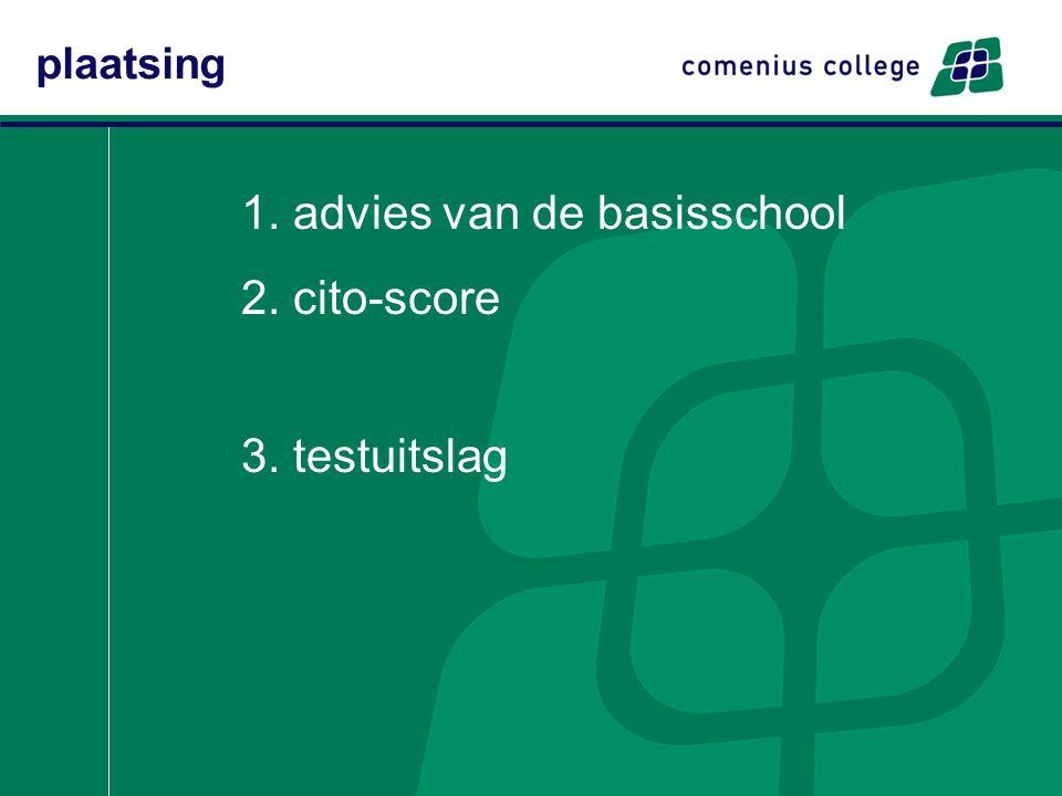 1. advies van de basisschool 2. cito-score 3. testuitslag plaatsing