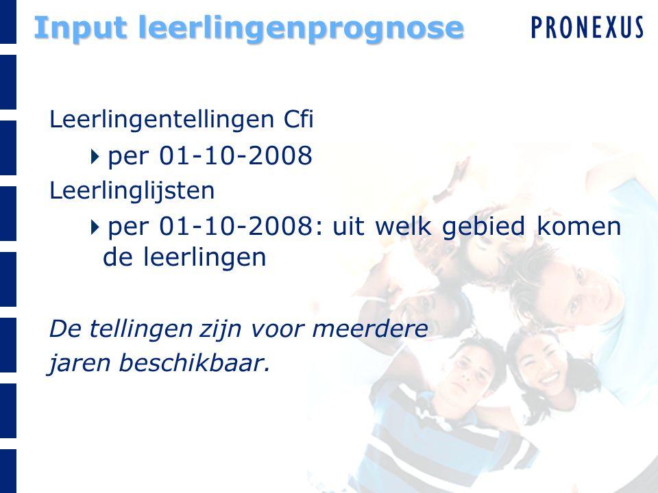 Input leerlingenprognose Leerlingentellingen Cfi  per 01-10-2008 Leerlinglijsten  per 01-10-2008: uit welk gebied komen de leerlingen De tellingen zijn voor meerdere jaren beschikbaar.
