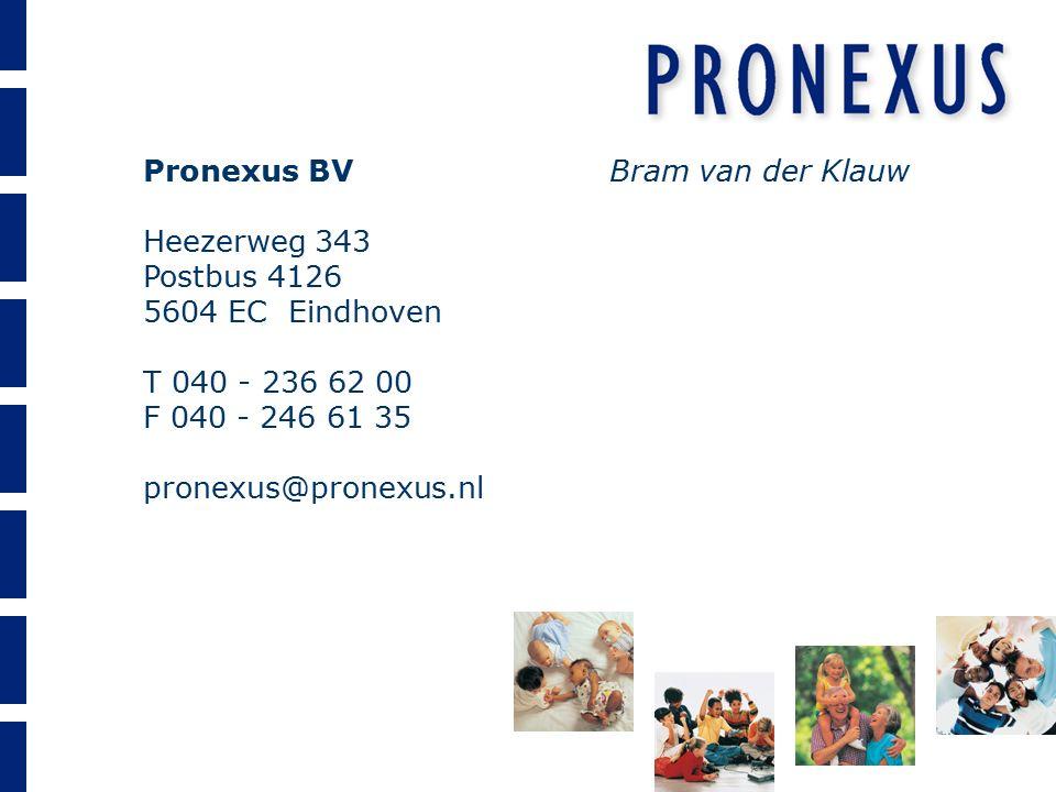 Pronexus BV Heezerweg 343 Postbus 4126 5604 EC Eindhoven T 040 - 236 62 00 F 040 - 246 61 35 pronexus@pronexus.nl Bram van der Klauw