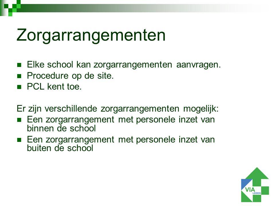 Elke school kan zorgarrangementen aanvragen. Procedure op de site.