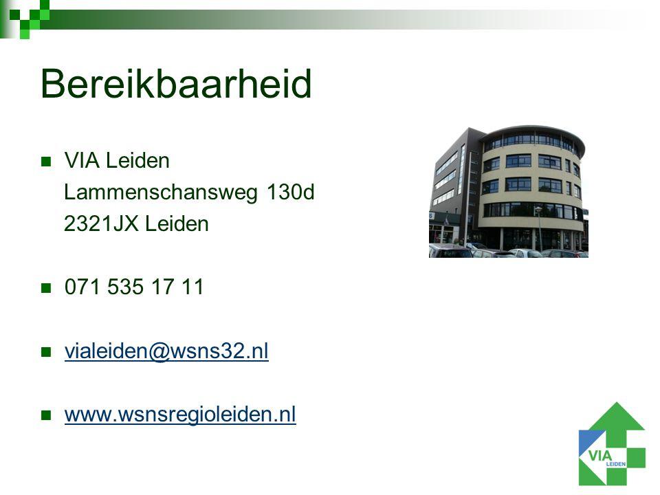 VIA Leiden Lammenschansweg 130d 2321JX Leiden 071 535 17 11 vialeiden@wsns32.nl www.wsnsregioleiden.nl Bereikbaarheid