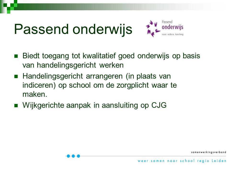 Biedt toegang tot kwalitatief goed onderwijs op basis van handelingsgericht werken Handelingsgericht arrangeren (in plaats van indiceren) op school om de zorgplicht waar te maken.