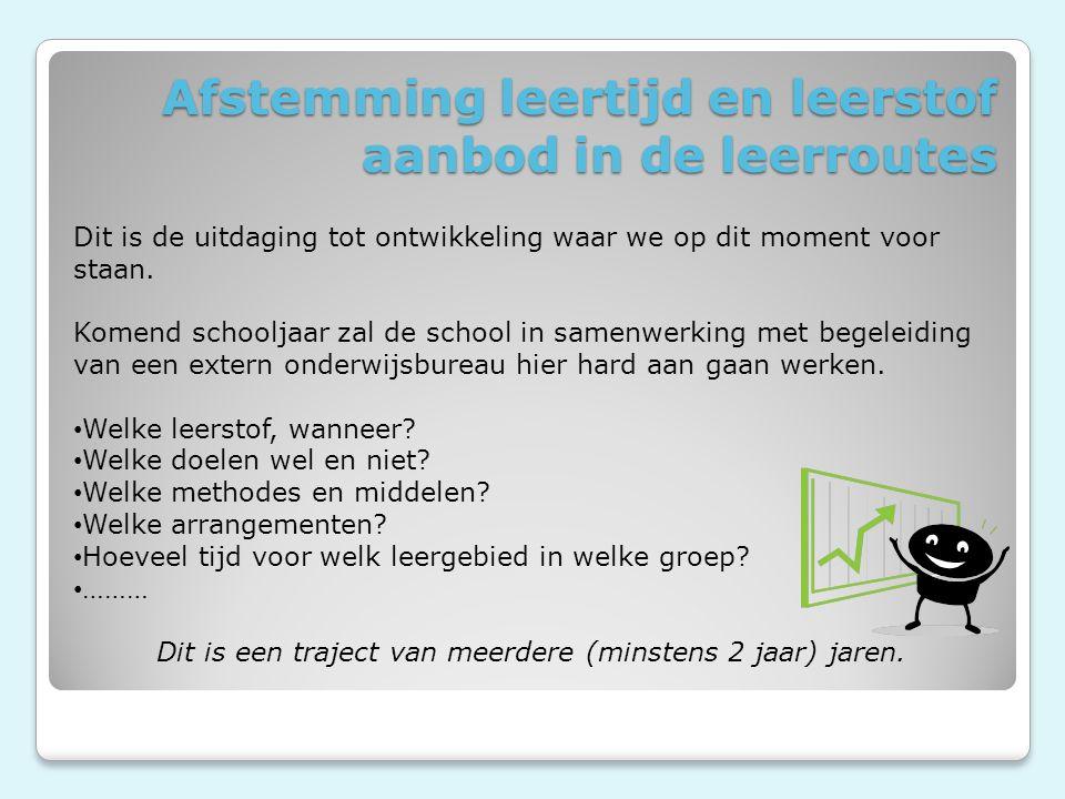 Afstemming leertijd en leerstof aanbod in de leerroutes Dit is de uitdaging tot ontwikkeling waar we op dit moment voor staan.