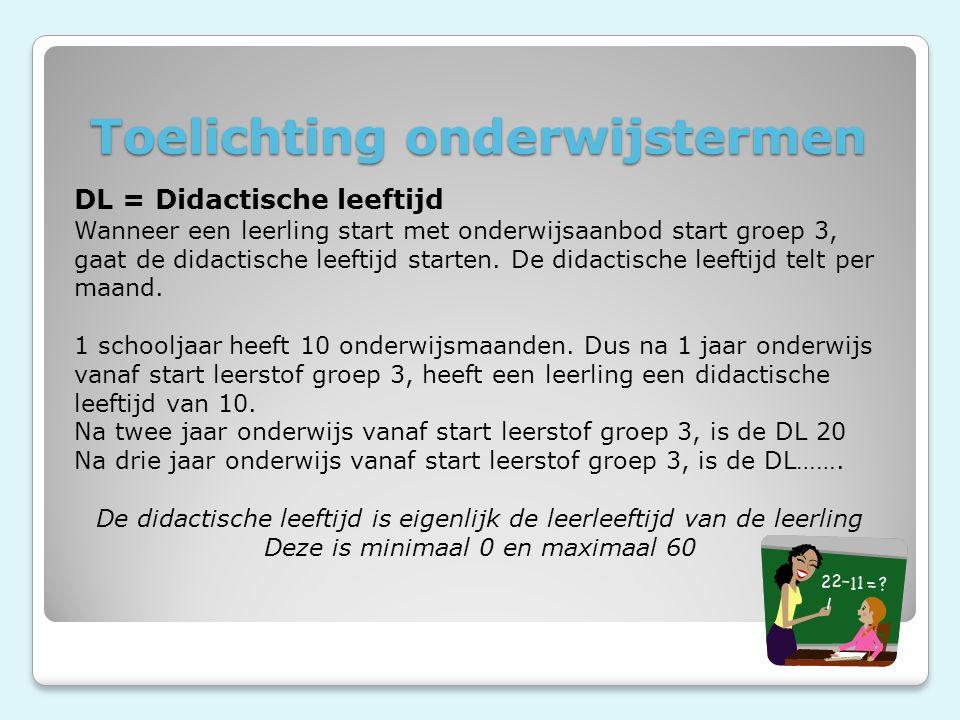 Toelichting onderwijstermen DL = Didactische leeftijd Wanneer een leerling start met onderwijsaanbod start groep 3, gaat de didactische leeftijd starten.