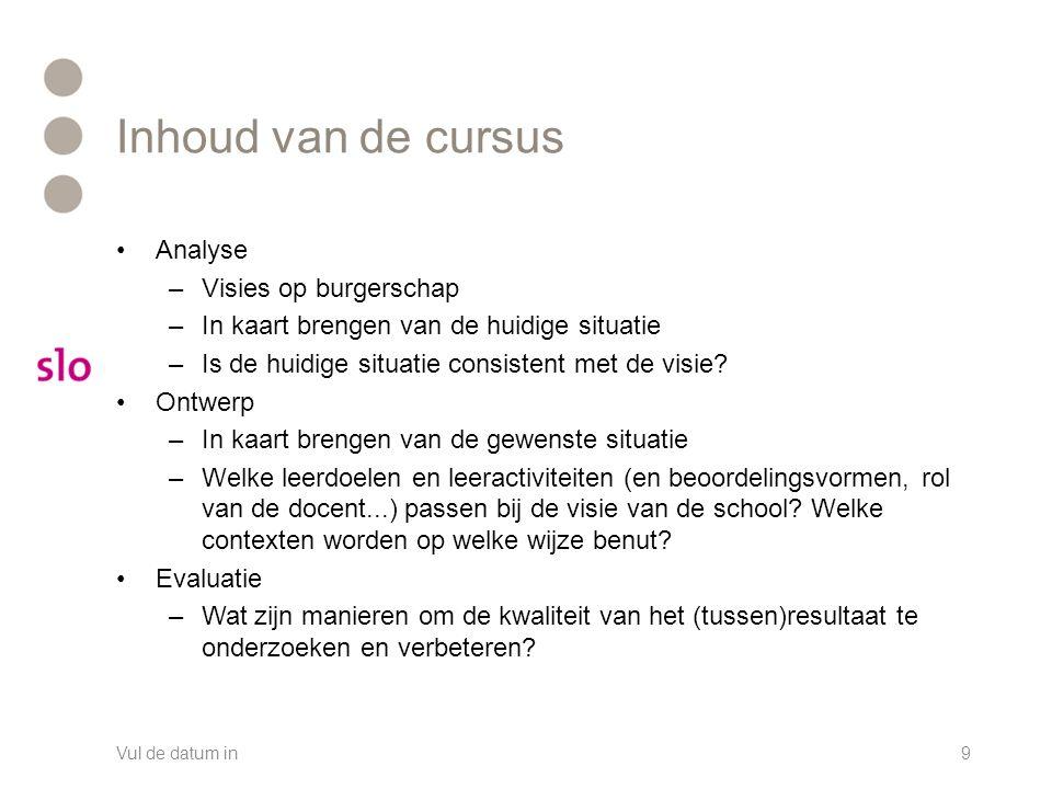 Inhoud van de cursus Analyse –Visies op burgerschap –In kaart brengen van de huidige situatie –Is de huidige situatie consistent met de visie.