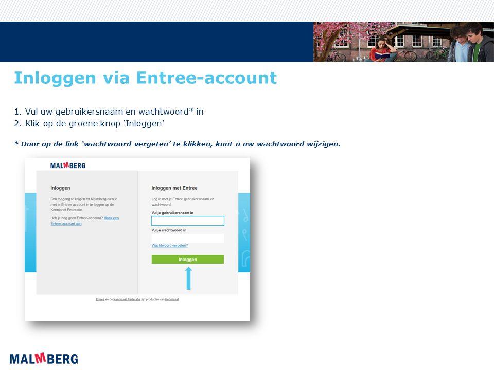 Inloggen via Entree-account 1. Vul uw gebruikersnaam en wachtwoord* in 2.