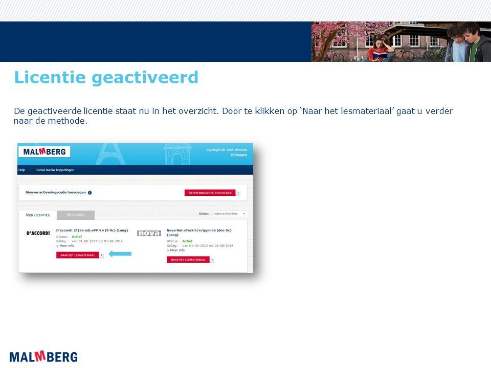 Licentie geactiveerd De geactiveerde licentie staat nu in het overzicht.