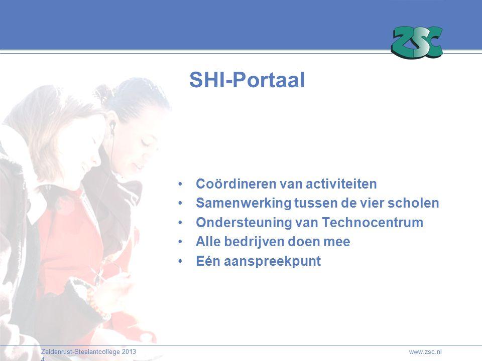 Zeldenrust-Steelantcollege 2013 4 SHI-Portaal Coördineren van activiteiten Samenwerking tussen de vier scholen Ondersteuning van Technocentrum Alle bedrijven doen mee Eén aanspreekpunt www.zsc.nl