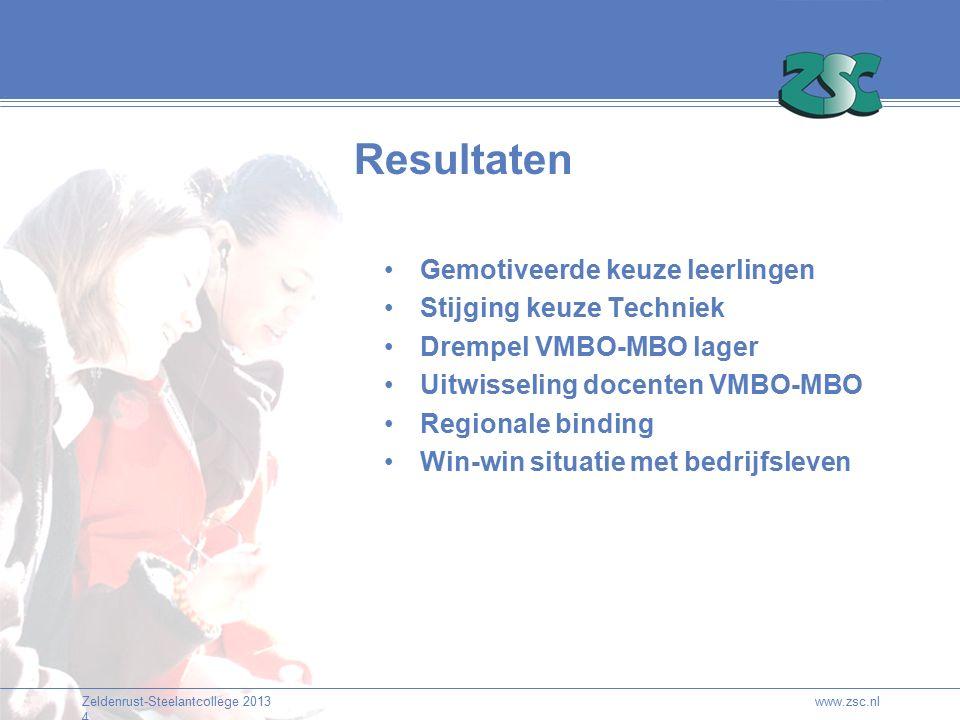 Zeldenrust-Steelantcollege 2013 4 Resultaten Gemotiveerde keuze leerlingen Stijging keuze Techniek Drempel VMBO-MBO lager Uitwisseling docenten VMBO-MBO Regionale binding Win-win situatie met bedrijfsleven www.zsc.nl