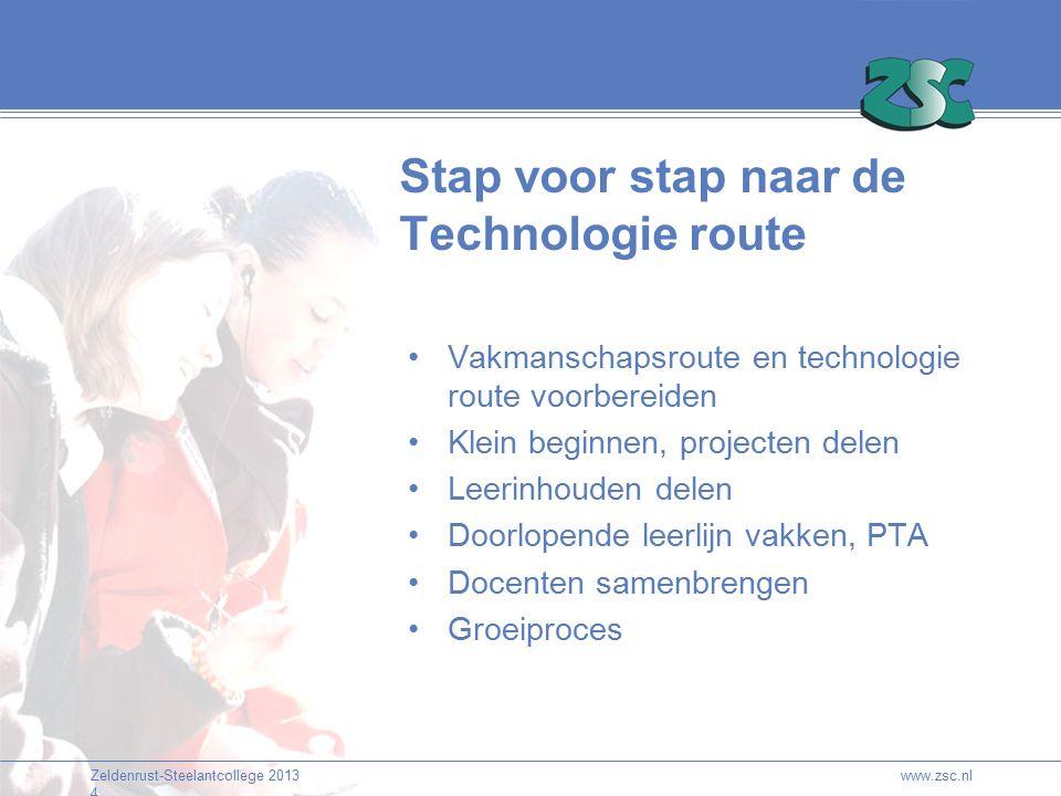 Zeldenrust-Steelantcollege 2013 4 Stap voor stap naar de Technologie route Vakmanschapsroute en technologie route voorbereiden Klein beginnen, project