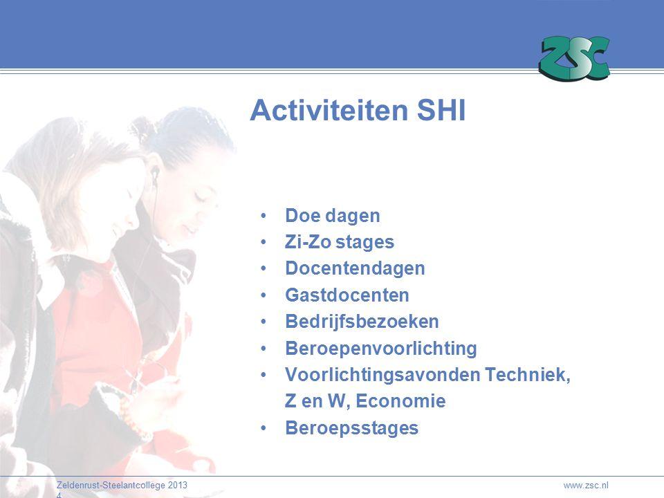 Zeldenrust-Steelantcollege 2013 4 Activiteiten SHI Doe dagen Zi-Zo stages Docentendagen Gastdocenten Bedrijfsbezoeken Beroepenvoorlichting Voorlichtin