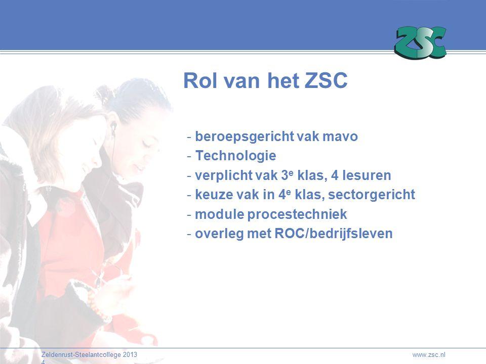 Zeldenrust-Steelantcollege 2013 4 www.zsc.nl Rol van het ZSC - beroepsgericht vak mavo - Technologie - verplicht vak 3 e klas, 4 lesuren - keuze vak in 4 e klas, sectorgericht - module procestechniek - overleg met ROC/bedrijfsleven