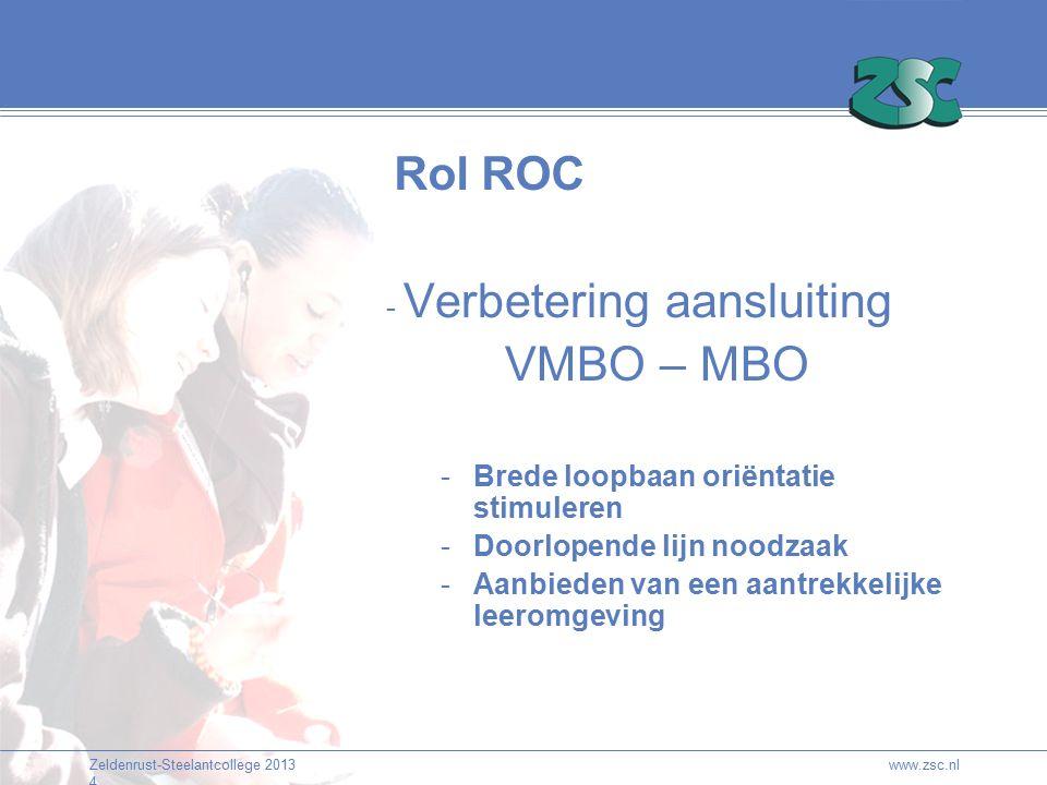 Zeldenrust-Steelantcollege 2013 4 www.zsc.nl Rol ROC - Verbetering aansluiting VMBO – MBO -Brede loopbaan oriëntatie stimuleren -Doorlopende lijn nood