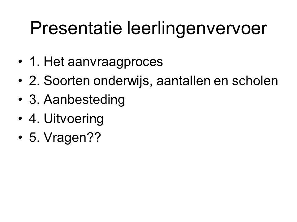 Presentatie leerlingenvervoer 1. Het aanvraagproces 2. Soorten onderwijs, aantallen en scholen 3. Aanbesteding 4. Uitvoering 5. Vragen??