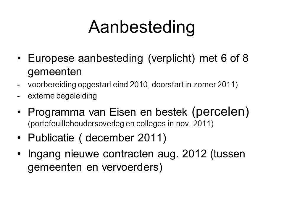 Aanbesteding Europese aanbesteding (verplicht) met 6 of 8 gemeenten -voorbereiding opgestart eind 2010, doorstart in zomer 2011) -externe begeleiding