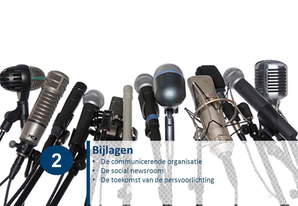10 Bijlagen De communicerende organisatie De social newsroom De toekomst van de persvoorlichting 2