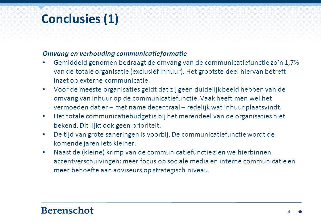 Omvang en verhouding communicatieformatie Gemiddeld genomen bedraagt de omvang van de communicatiefunctie zo'n 1,7% van de totale organisatie (exclusief inhuur).