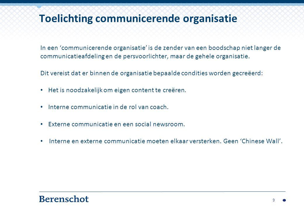 In een 'communicerende organisatie' is de zender van een boodschap niet langer de communicatieafdeling en de persvoorlichter, maar de gehele organisatie.