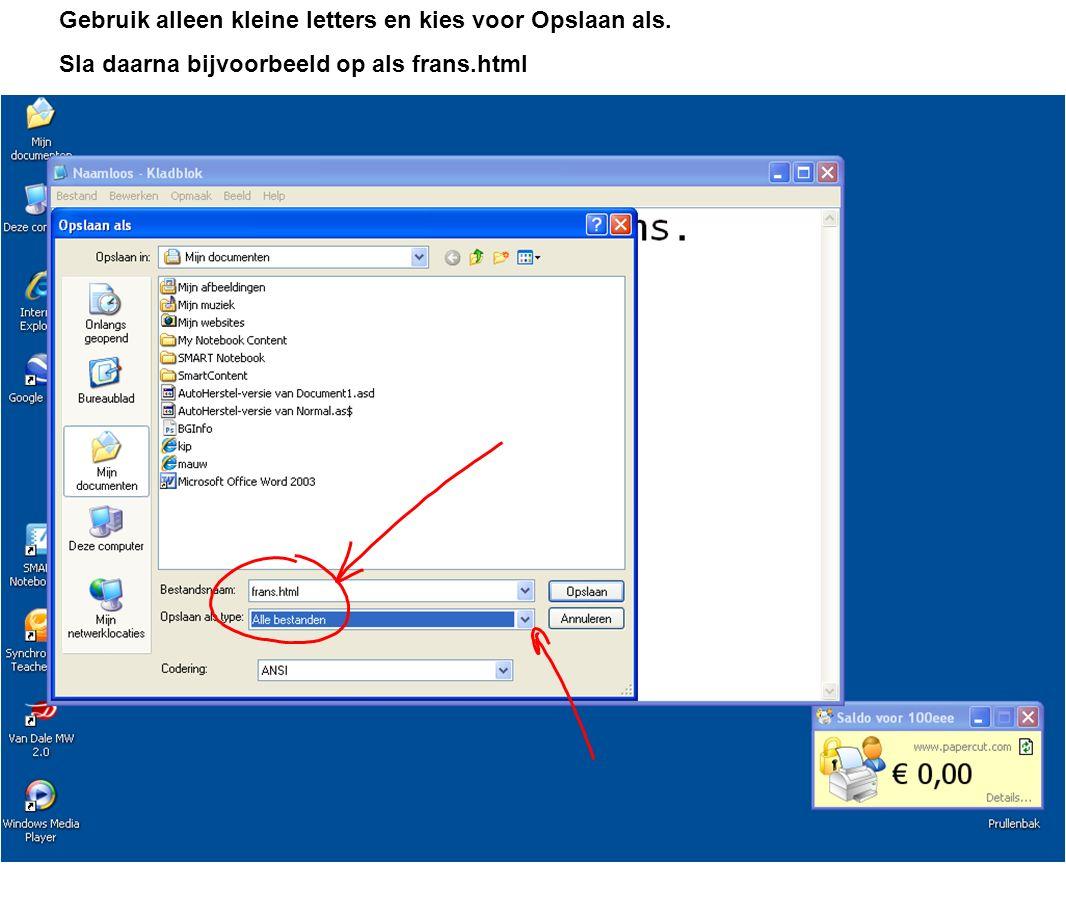 Gebruik alleen kleine letters en kies voor Opslaan als. Sla daarna bijvoorbeeld op als frans.html