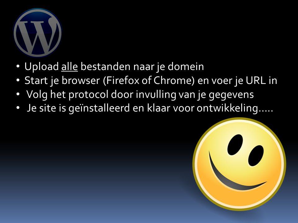 Upload alle bestanden naar je domein Start je browser (Firefox of Chrome) en voer je URL in Volg het protocol door invulling van je gegevens Je site is geïnstalleerd en klaar voor ontwikkeling…..