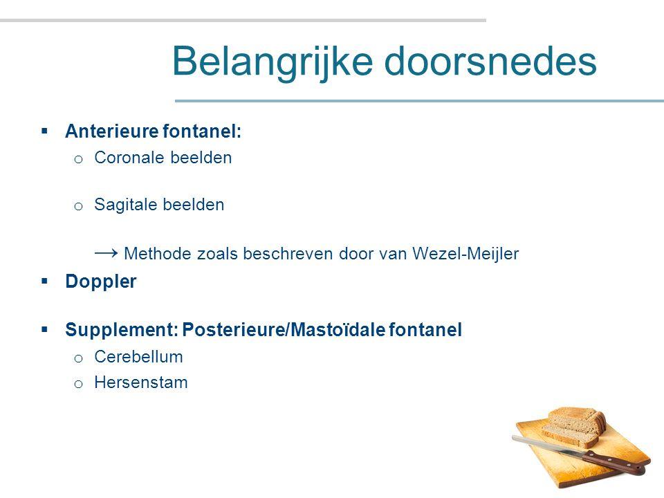 Belangrijke doorsnedes  Anterieure fontanel: o Coronale beelden o Sagitale beelden → Methode zoals beschreven door van Wezel-Meijler  Doppler  Supplement: Posterieure/Mastoïdale fontanel o Cerebellum o Hersenstam