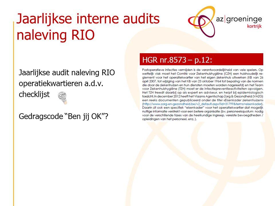 """Jaarlijkse interne audits naleving RIO Jaarlijkse audit naleving RIO operatiekwartieren a.d.v. checklijst Gedragscode """"Ben jij OK""""? HGR nr.8573 – p.12"""