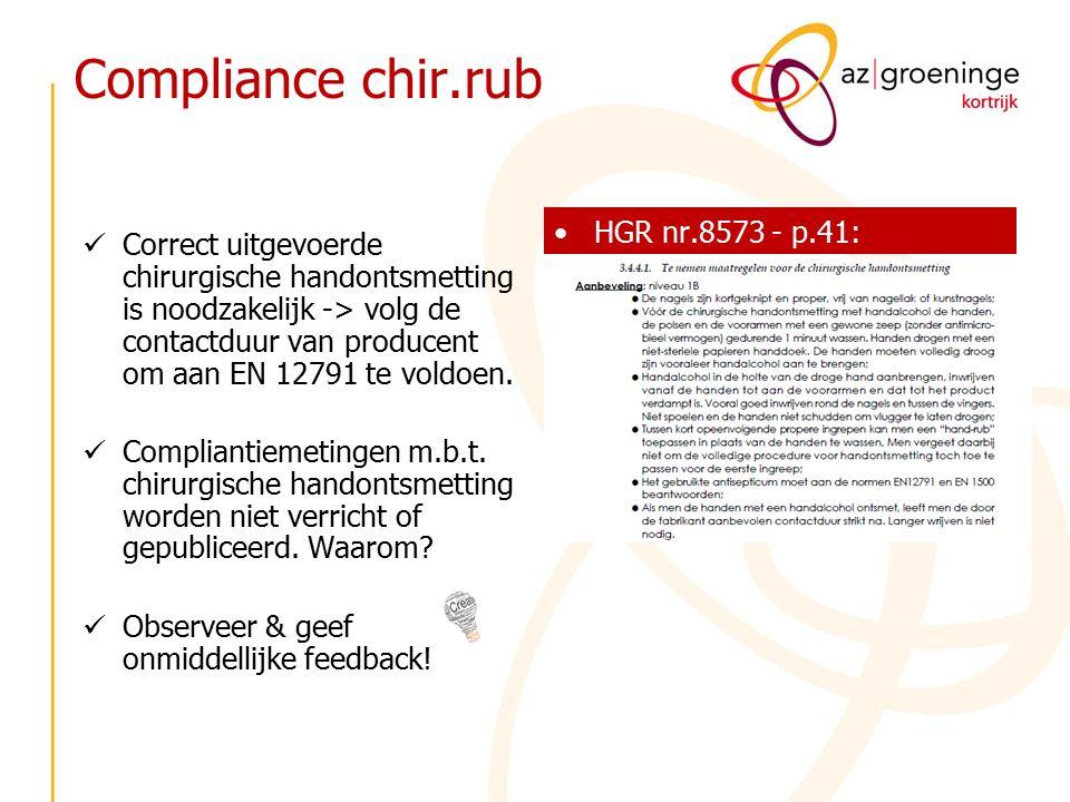 Compliance chir.rub Correct uitgevoerde chirurgische handontsmetting is noodzakelijk -> volg de contactduur van producent om aan EN 12791 te voldoen.