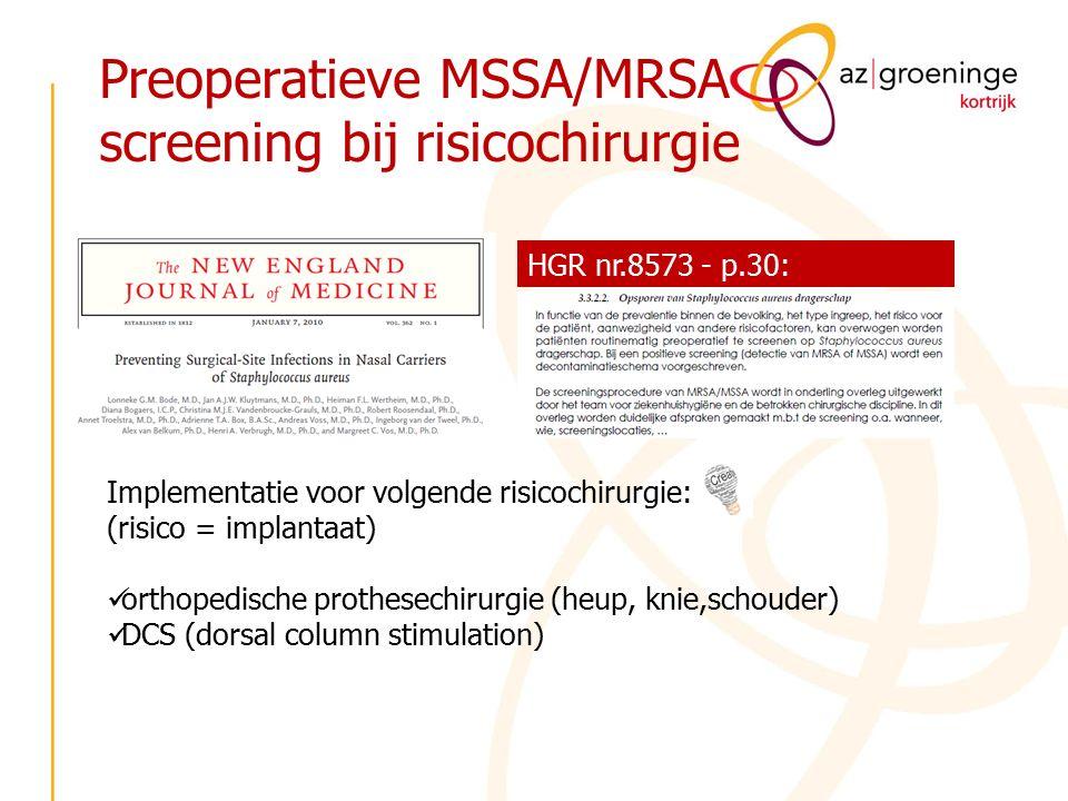 Preoperatieve MSSA/MRSA screening bij risicochirurgie HGR nr.8573 - p.30: Implementatie voor volgende risicochirurgie: (risico = implantaat) orthopedi