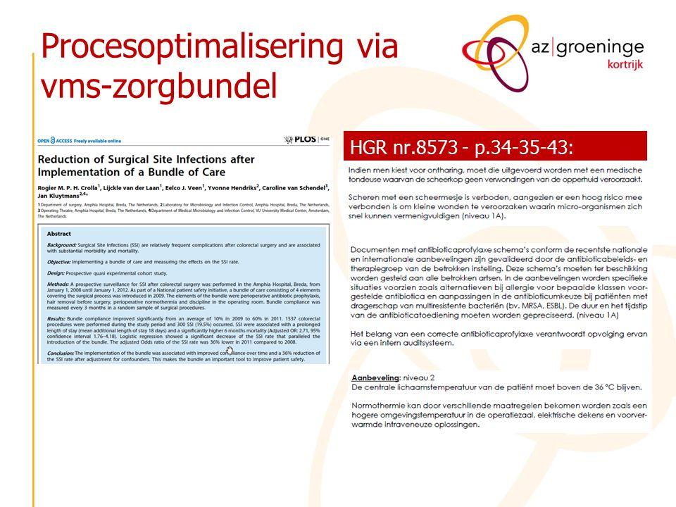 Procesoptimalisering via vms-zorgbundel HGR nr.8573 - p.34-35-43: