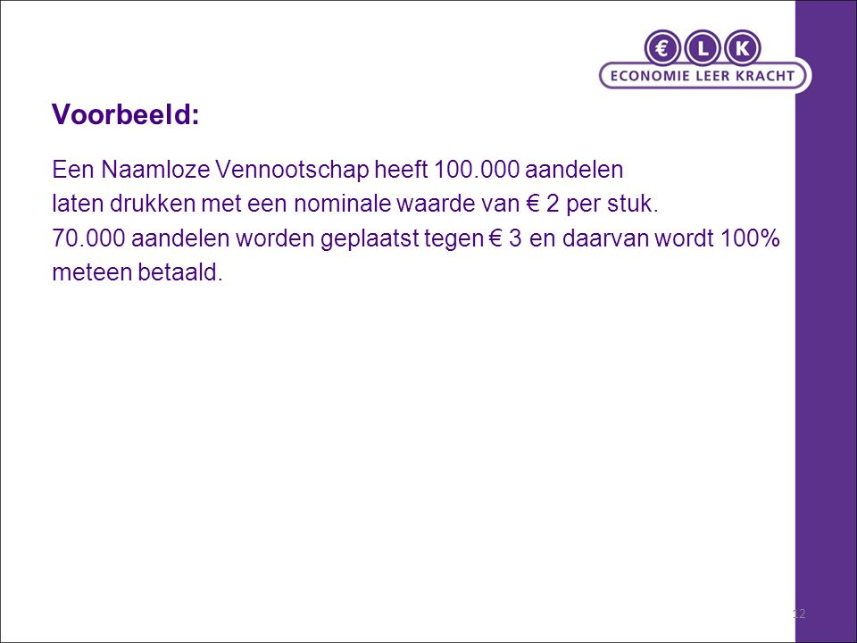 12 Voorbeeld: Een Naamloze Vennootschap heeft 100.000 aandelen laten drukken met een nominale waarde van € 2 per stuk. 70.000 aandelen worden geplaats
