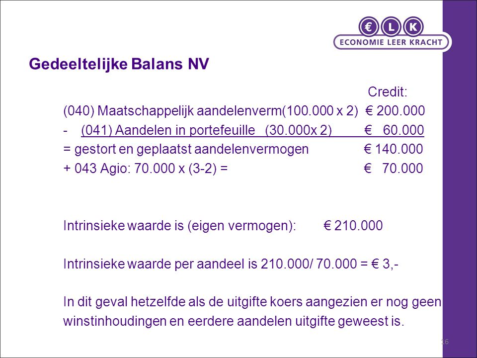 16 Gedeeltelijke Balans NV Credit: (040) Maatschappelijk aandelenverm(100.000 x 2) € 200.000 -(041) Aandelen in portefeuille (30.000x 2) € 60.000 = gestort en geplaatst aandelenvermogen € 140.000 + 043 Agio: 70.000 x (3-2) = € 70.000 Intrinsieke waarde is (eigen vermogen): € 210.000 Intrinsieke waarde per aandeel is 210.000/ 70.000 = € 3,- In dit geval hetzelfde als de uitgifte koers aangezien er nog geen winstinhoudingen en eerdere aandelen uitgifte geweest is.