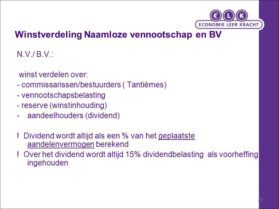 20 Winstverdeling Naamloze vennootschap en BV N.V./ B.V.: winst verdelen over: - commissarissen/bestuurders ( Tantièmes) - vennootschapsbelasting - reserve (winstinhouding) -aandeelhouders (dividend) .