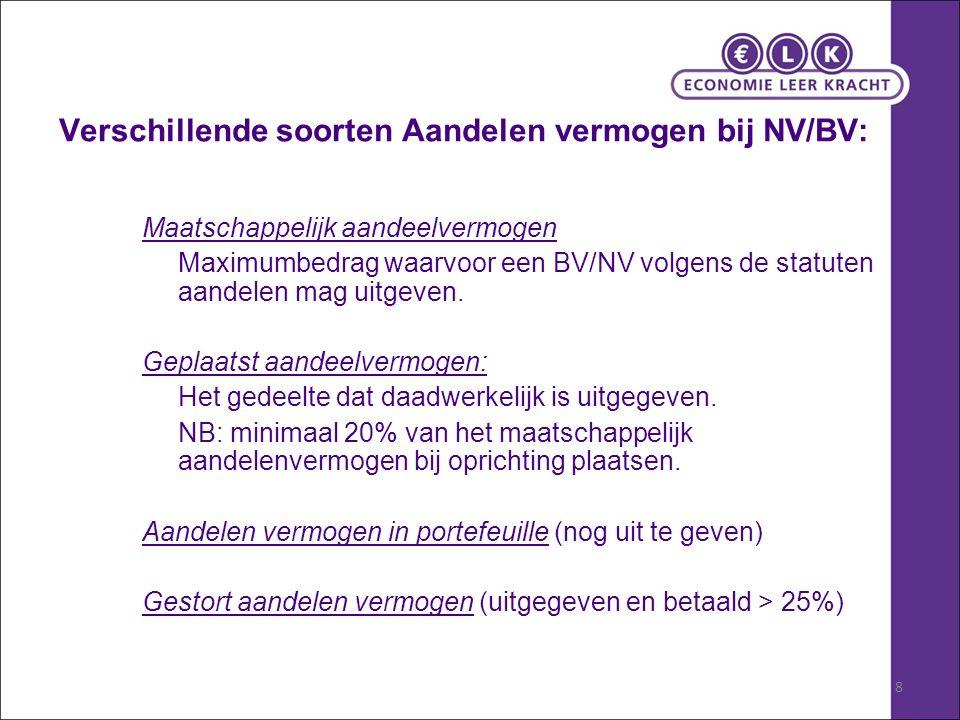 8 Verschillende soorten Aandelen vermogen bij NV/BV: Maatschappelijk aandeelvermogen Maximumbedrag waarvoor een BV/NV volgens de statuten aandelen mag uitgeven.