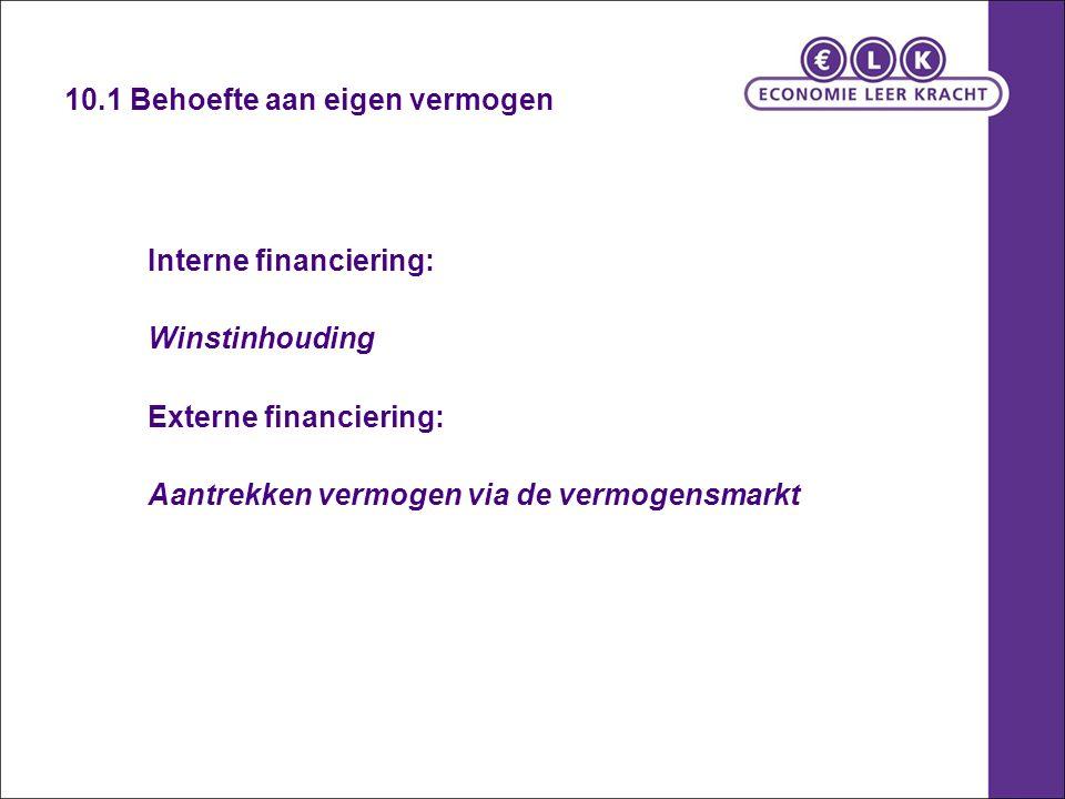 10.1 Behoefte aan eigen vermogen Interne financiering: Winstinhouding Externe financiering: Aantrekken vermogen via de vermogensmarkt