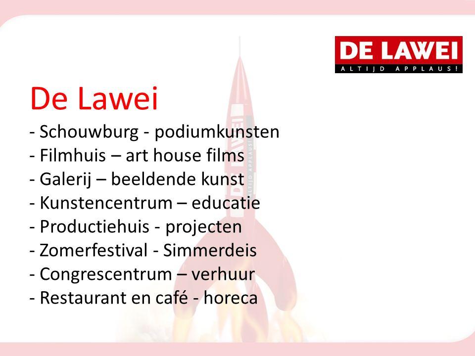 De Lawei - Schouwburg - podiumkunsten - Filmhuis – art house films - Galerij – beeldende kunst - Kunstencentrum – educatie - Productiehuis - projecten