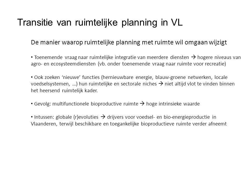 Transitie van ruimtelijke planning in VL De manier waarop ruimtelijke planning met ruimte wil omgaan wijzigt Toenemende vraag naar ruimtelijke integratie van meerdere diensten  hogere niveaus van agro- en ecosysteemdiensten (vb.