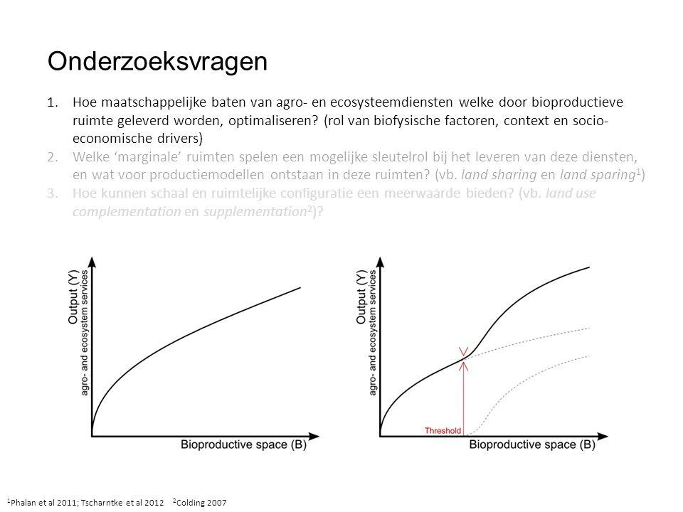 Onderzoeksvragen 1 Phalan et al 2011; Tscharntke et al 2012 2 Colding 2007 1.Hoe maatschappelijke baten van agro- en ecosysteemdiensten welke door bioproductieve ruimte geleverd worden, optimaliseren.