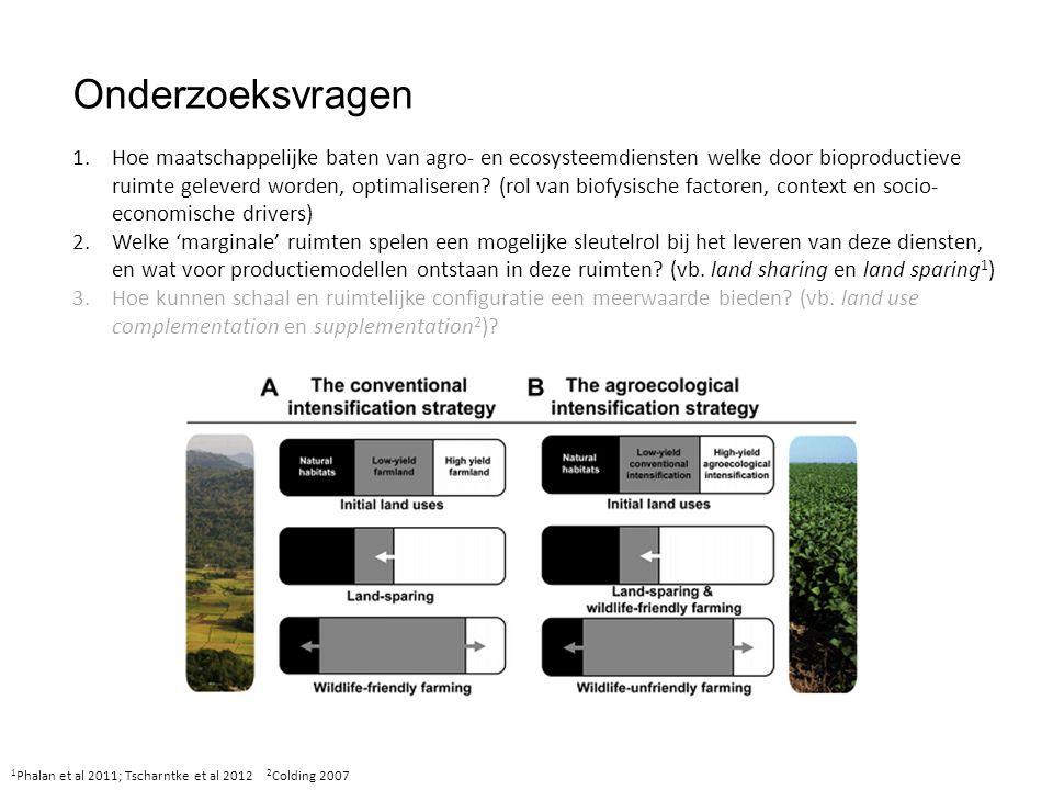 Onderzoeksvragen 1 Phalan et al 2011; Tscharntke et al 2012 2 Colding 2007 Complementation Supplementation 1.Hoe maatschappelijke baten van agro- en ecosysteemdiensten welke door bioproductieve ruimte geleverd worden, optimaliseren.