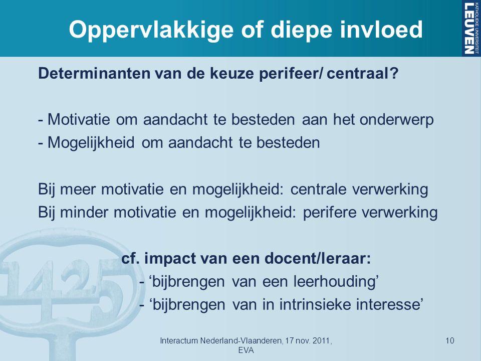 Oppervlakkige of diepe invloed Determinanten van de keuze perifeer/ centraal.