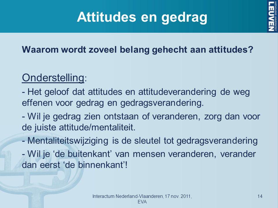 Attitudes en gedrag Waarom wordt zoveel belang gehecht aan attitudes.