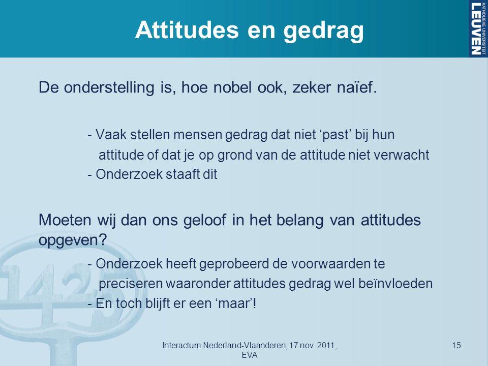 Attitudes en gedrag De onderstelling is, hoe nobel ook, zeker naïef.