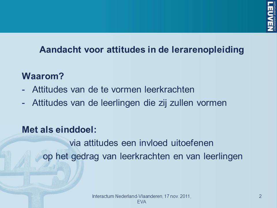 Attitudes en Gedrag Interactum Nederland-Vlaanderen, 17 nov. 2011, EVA 13