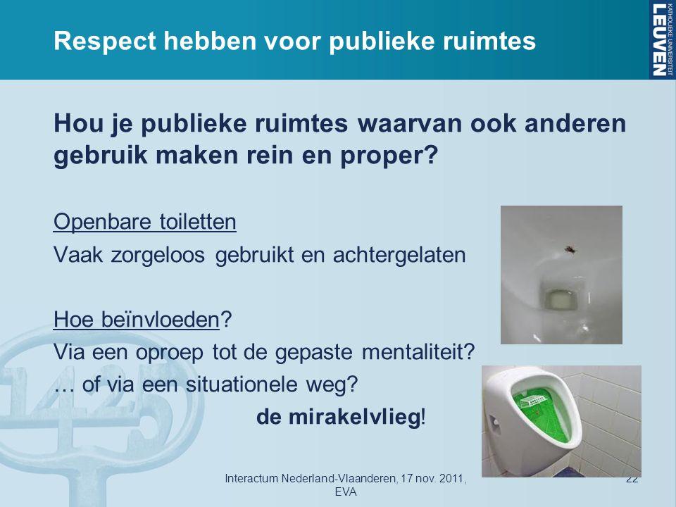 Respect hebben voor publieke ruimtes Hou je publieke ruimtes waarvan ook anderen gebruik maken rein en proper.